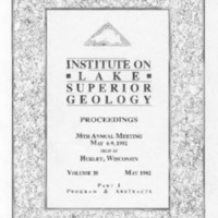 Institute on Lake Superior Geology: Proceedings, 1992
