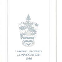 1986 Convocation Program