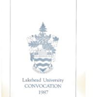 1987 Convocation Program