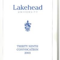 2003 Convocation Program