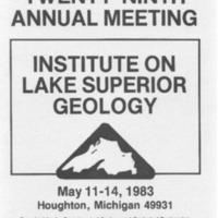 Institute on Lake Superior Geology: Proceedings, 1983